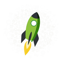 Call to action rocketship icon