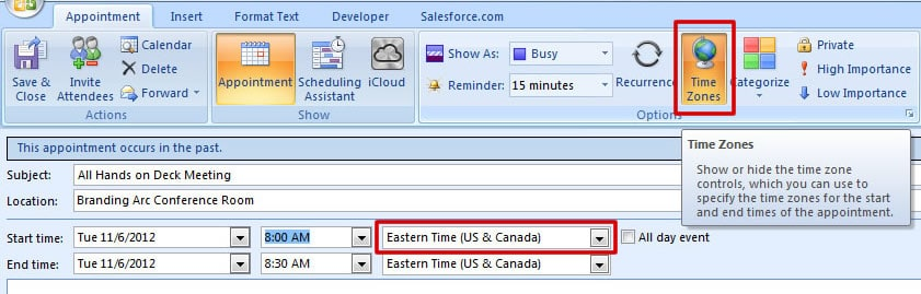 MS Outlook Time Zones