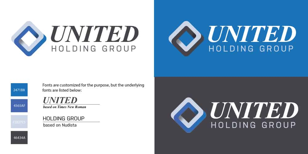 United Holding Group logo card defining their branding and corporate identity