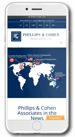 Phillips & Cohen Associates screenshot on mobile device