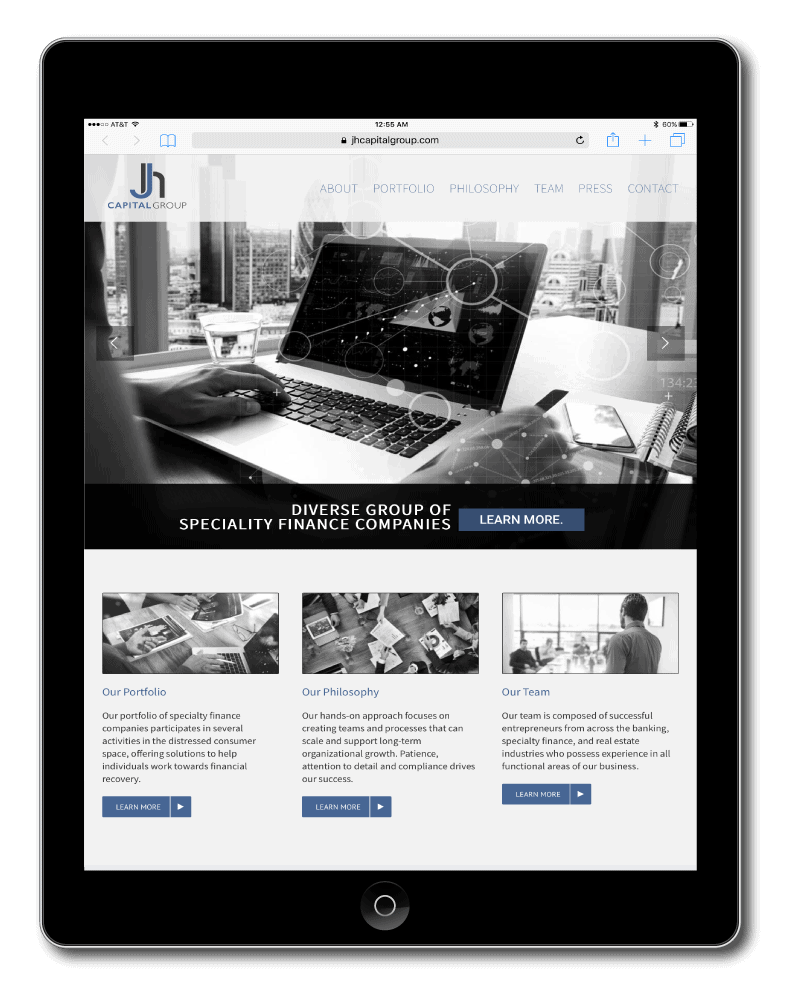 JH Capital Group website sample on tablet